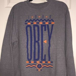 Obey gray sweatshirt large.